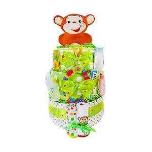 Merry Monkey 3 Tier Diaper Cake by Baby Gift Basket Baby
