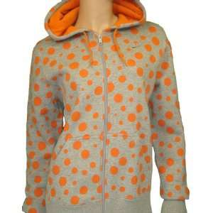 Nike womens Poka Dot Hoodie Sweatshirt Jacket Gray