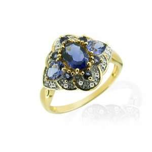 9ct Yellow Gold Iolite & Diamond Cocktail Ring Size 8.5 Jewelry