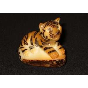 Ivory Bengal Tiger Resting Tagua Nut Figurine Carving, 2.4