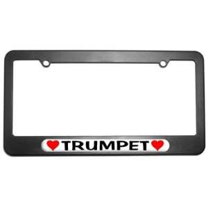 Trumpet Love with Hearts License Plate Tag Frame