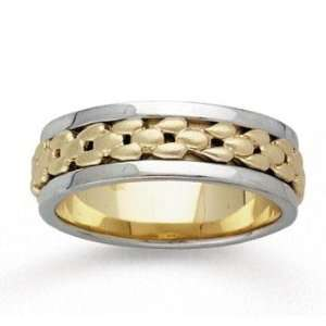 14k Two Tone Gold Modern Deco Hand Carved Wedding Band Jewelry