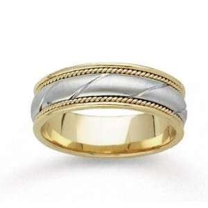 14k Two Tone Gold Sleek Fine Hand Carved Wedding Band Jewelry