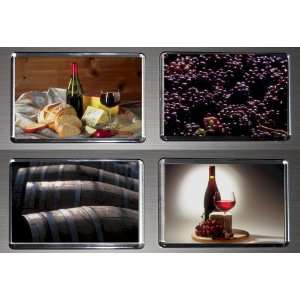 Gift Boxed Set of 4 Fridge Magnets Wine 3  Kitchen