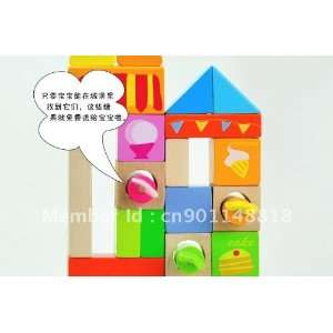 blocks of 50 children assembling of wooden building blocks Toys