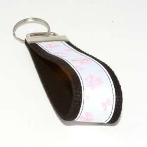 White Pink Ballet Slippers 5   Black   Keychain Key Fob
