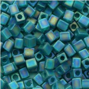 Miyuki 4mm Glass Cube Beads Transparent Frosted Teal AB