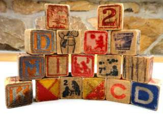 LOT antique WOODEN TOY BLOCKS alphabet 17 PC pictures★