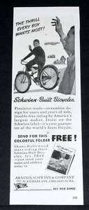 OLD WWII MAGAZINE PRINT AD, SCHWINN BUILT BICYCLES, EVERY BOYS THRILL