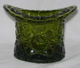 Vintage Fenton Green Glass Daisy Button Top Hat Topper