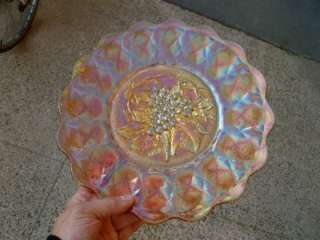 GORGEOUS & HUGE 12 MARIGOLD HEAVY GRAPE CARNIVAL GLASS CHOP PLATE