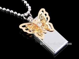 2GB USB Jewel Butterfly Necklace Flash Drive