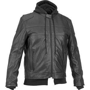 River Road Cavalier Hooded Leather Jacket   44/Black Automotive