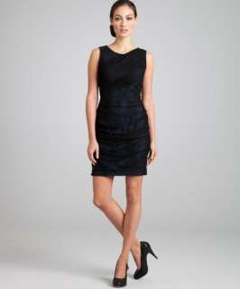 Marc New York black and blue lace drape dress